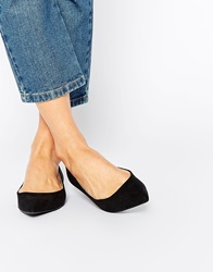 Oasis Pointed Flat Slipper Shoes Black