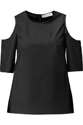 Tanya Taylor Iris Cutout Cotton Blend Top Black
