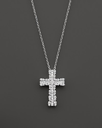 Bloomingdale's Diamond And Baguette Cross Pendant Necklace In 14K White Gold 1.0 Ct. T.W.