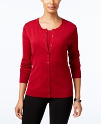 August Silk Crew Neck Cardigan Uno Red