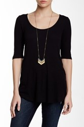 Heather By Bordeaux Elbow Length Sleeve Scoop Tee Black