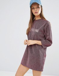 Style Nanda Stylenanda Sparkle T Shirt Dress With Front Slogan Pink