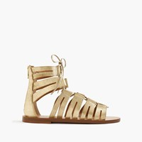 J.Crew Metallic Suede Lace Up Gladiator Sandals Pale Gold