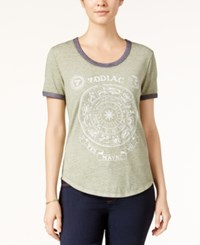 Hybrid Juniors' Zodiac Graphic Ringer Tee Olive Charcoal