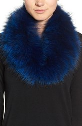 Dena Women's Genuine Fox Fur Cowl Collar Royal Blue