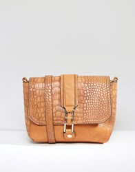 Liquorish Shoulder Bag With Mock Croc Panel Tan