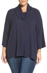 Sejour Plus Size Women's Cowl Neck Top Navy Black Pattern