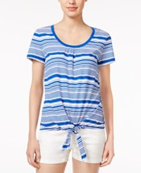 Tommy Hilfiger Striped Tie Hem T Shirt Surf The Web Snow White