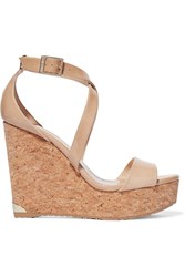 Jimmy Choo Portia Patent Leather Wedge Sandals Beige