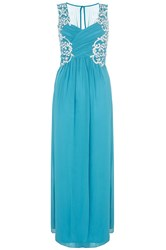 Quiz Teal Embroidered Maxi Dress Green