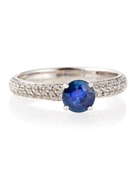 Roberto Coin Blue Sapphire Solitaire Ring With Pave Diamond Band Size 6.5