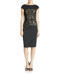 Tadashi Shoji Neoprene Cap Sleeve Sheath Dress Black Pale Pink