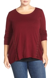 Lucky Brand Lace Inset Cotton And Cashmere Knit Tunic Plus Size Mixed Berry