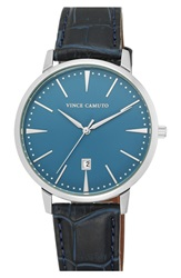 Vince Camuto Round Leather Strap Watch 46Mm Navy Silver Blue