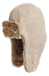 Nirvanna Designs Women's Earflap Hat With Faux Fur Trim Beige