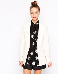 New Look Crepe Collarless Blazer Cream