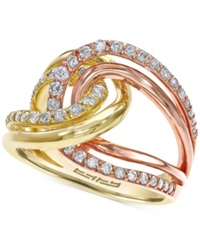 Effy Collection Effy Diamond Two Tone Ring In 14K Gold 3 4 Ct. T.W. Tri Tone