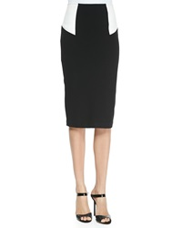 Alice Olivia High Waist Colorblock Pencil Skirt Black White