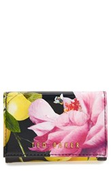 Ted Baker Women's London 'Citrus Bloom Shanita' Printed Leather Coin Purse Black