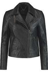 Muubaa Crinkled Leather Biker Jacket Black