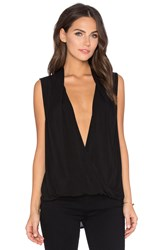 Velvet By Graham And Spencer Georgina Rayon Challis Cross Front Sleeveless Top Black