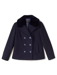 Precis Petite Mary Wool Fur Collar Coat Navy