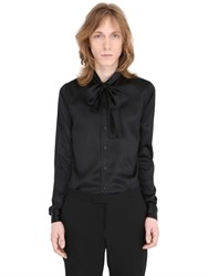 Saint Laurent Silk Satin Shirt With Bow Collar