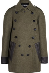 Tom Ford Leather Trimmed Cashmere And Wool Blend Coat