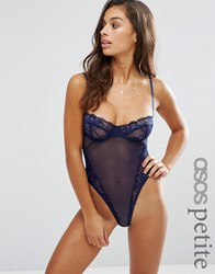 Asos Petite Cacey Fishnet And Lace Underwire Thong Body Navy