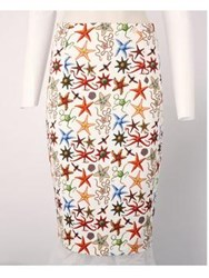 Versace Collection Under The Sea Print Pencil Skirt Cream