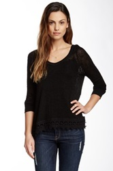 Bobeau V Neck Crochet Hem Sweater Black