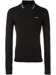Armani Jeans Embroidered Logo Polo Shirt Black