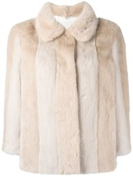 Simonetta Ravizza Fur Jacket Nude And Neutrals