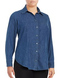 Rachel Rachel Roy Plus Button Down Denim Shirt Medium Wash