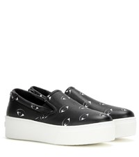 Kenzo Platform Printed Leather Slip On Sneakers Black