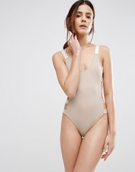 Asos Elastic Trim Strappy Side Swimsuit Mink Nude Beige