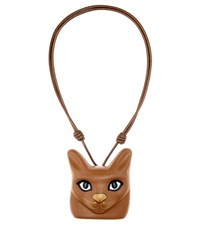 Loewe Cat Face Leather Necklace Brown