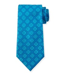 Charvet Medallion Print Silk Tie Light Blue