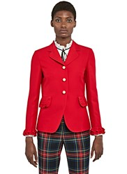 Gucci Ruffled Blazer Jacket Red