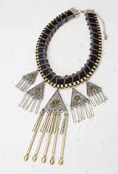 Forever 21 Southwestern Inspired Statement Necklace B.Silver Black