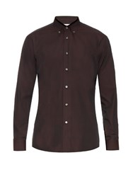 Brioni Button Down Collar Micro Check Cotton Shirt Burgundy Multi