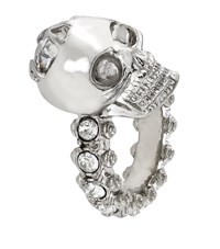 Alexander Mcqueen Jewelled Skull Ring Female Silver