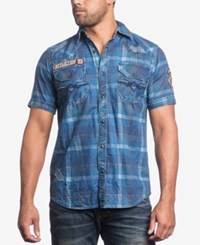 Affliction Men's Mind Games Woven Shirt Navy Plaid