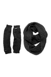 Muk Luks Twisted Rib Eternity Scarf And Armwarmers Set Black