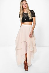 Boohoo Ruffle Hem High Low Maxi Skirt Nude