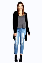 Boohoo Jersey Pocket Cardigan Black
