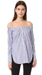 Rag And Bone Kacy Off Shoulder Tunic Navy White
