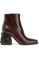 Marni Embellished Leather Ankle Boots Merlot
