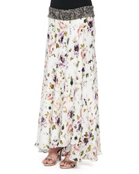 Haute Hippie Floral Print Maxi Skirt With Beaded Waistband Small