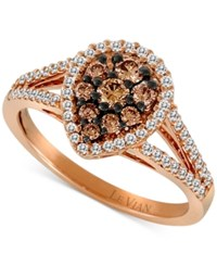 Le Vian Chocolatier Diamond Teardrop Split Shank Ring 3 4 Ct. T.W. In 14K Rose Gold No Color